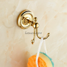 Polished Gold Brass Wall Mounted Bathroom Double Towel Clothes Robe Hooks Hanger