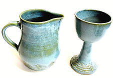 Tamarack Stoneware Signed Ceramic Pitcher Footed Cup Goblet Blue Green  New
