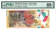Trinidad & Tobago 50 Dollars 2015 PMG 68 EPQ s/n CH 094774 Polymer