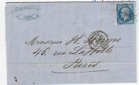 France 1859 20c Imperf Entire Cover To Paris Postal History J2899