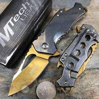 "MTech 3"" Closed Spring Assisted Tactical Rescue Pocket Knife [Silver/Gold]"