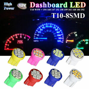 T10 W5W Wedge 3020/1206 8SMD LED License Interior Instrument Cluster Light Bulbs