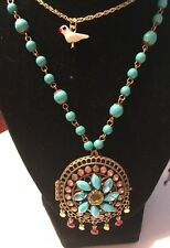 Caicos Beaded Medallion Locket Long Necklace Nwt Auth Betsey Johnson Turqs &