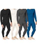 Mens Thermal Underwear Set Top Bottom Waffle Knit Cotton Rich Long John