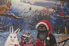 4x6 PRINT OF PAINTING XMAS RYTA BLACK CAT SNOWMAN WINTER BLACK CAT SQUIRREL ART