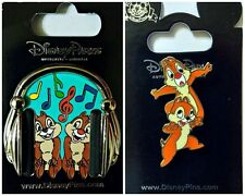 Chip & Dale Headphones + spring w/movement pins lot of 2 Disney Park - NEW
