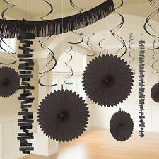 18 X Noir pendant Papier & Feuilles D'Aluminium Décoration de Fête Mariage