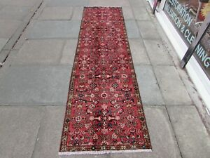 Vintage Traditional Hand Made Oriental Red Wool Long Narrow Runner 276x76cm