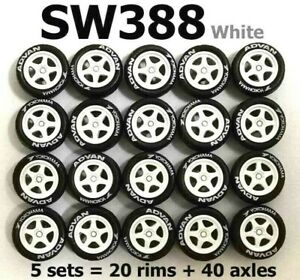 1:64 rubber tires SW388 White rim fit Hot Wheels Toyota diecast - 5 sets