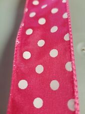 "1.5"" Wired Ribbon - Bright Pink with White Dots"