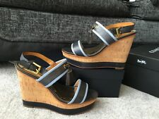 COACH Guileietta Tassels Blue Navy leather Wedges sandals Eur size 39