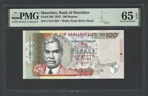 Mauritius 100 Rupees 2012 P56d Uncirculated Graded 65