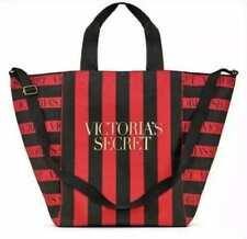 Victoria Secret Red & Black Striped Zippered Weekender Tote Bag Logo RARE XL NWT