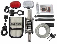 35PC BICYCLE ACCESSORY MULTI TOOL KIT LIGHTS WIRE LOCK BIKE PUNCTURE REPAIR