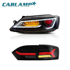 Audi Style For VW Jetta Sedan 2011-2014 LED Headlights + LED Tail Lights Smoked