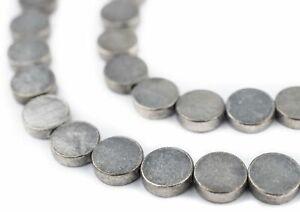 Circular Disk Silver Beads 10mm Flat White Metal 16 Inch Strand