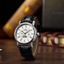 Classic Men's Wrist Watches Business Quartz Date Moon Phase Black Leather Strap