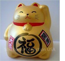 "Feng Shui Japanese ""FUKU"" Happiness Golden Fortune Maneki Neko Cat/ Piggy Bank"