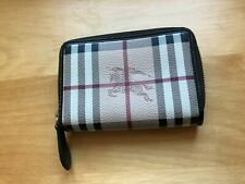 Classic Burberry Brown Checkered Leather Carryall Wallet