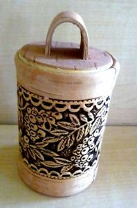 Handmade Small Wooden Birch Bark Container/Beautiful Detailed Box
