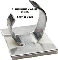 Cable Clips Aluminium Self Adhesive Sizes 6mm & 9mm