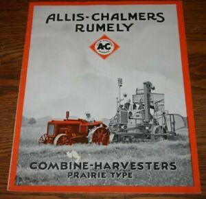Rare1930 Allis Chalmers Rumely  Combine Harvesters Prairie Advert Sales Brochure