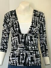 NICE!! Black, White, Beige & Grey Mix Mock Layer Top By Autograph M&S - Size 12