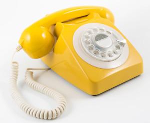 Retro Telephone - Rotary Dialling - New - GPO - Mustard