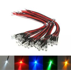 1-10x 12V 3mm 5mm ⌀ LED mit 20cm Kabel Leuchtdioden Deko LEDs verkabelt