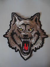 11'' inches large Embroidery Patches Wolf Head for Jacket Back