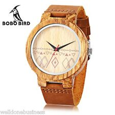 BOBO BIRD Madera Reloj De Cuarzo Conciso Correa Cuero Japón Movimiento pulsera