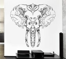 Wall Vinyl Sticker Decal Elephant Tusks Head Patterns Flowers Character (ed410)