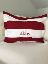 """Pottery Barn Kids Red Rugby Stripe Pillow Sham Embroidered """"Abby"""""""