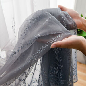 Lace Net Curtain Voile Drape Sheer Embroidered Rod Pocket Single Panel Home Room