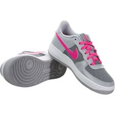 NIKE AIR FORCE 1 LOW (GS) KIDS YOUTH GREY PINK CASUAL BASKETBALL SHOES SNEAKERS