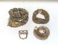 Lot of 4 Vintage Assorted Gold Toned Beaded Bracelets Clip Pin Costume Jewelry