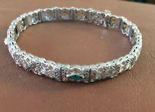 Antique Art Deco Filigree White Gold Diamond & Green stones sides  Bracelet