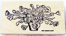 Northwoods Rubber Stamp Wood Mounted Tulip Spray In Vase Floral Flowers