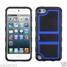 Apple iPod Touch 5 GUMMY CASE w STAND HYBRID COVER ACCESSORY BLACK BLUE
