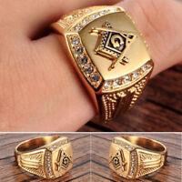 Fashion Men Free-Mason Symbol Rhinestone Charm Ring Luxury Finger Jewelry Cheap