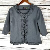 Good Fortune Womens Cardigan Size S Gray Ruffle Edge Cropped 3/4 Sleeve