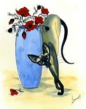 ART DIANNE HEAP 6213 ORIENTAL SIAMESE PAINTING EXOTIC CATS POPPIES PRINT