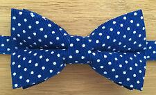 Bow Tie | Funky Handmade Blue & White Polka Dot Corduroy Bow Tie | Pre-tied