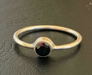 925 Sterling Silver Ruby Ring Gemstone Stack Stackable Round Sz US5 6 7 8 910