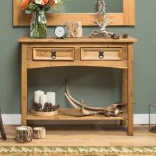 Classic Pine Wood Console Table Entryway Hall Decor With Large Storage Draws