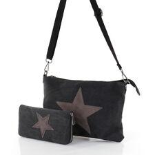Stern Umhänge Tasche Cross Bag Shopper Clutch Canvas Stoff Geldbörse Schwarz NEU