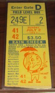 1967 St. Louis Cardinals New York Mets Ticket HOFer Steve Carlton WIN # 9 of 329