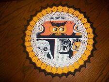 New Handmade Round Crochet Doily--Halloween Owl and Skeleton