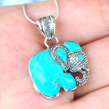 P474 Adorable  Pendentif  Eléphant Argent Massif 925  Turquoise