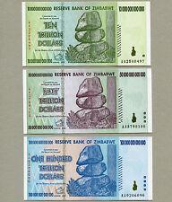 Zimbabwe 100 50 10 Trillion Dollars banknotes set AA 2008 UNC currency bills